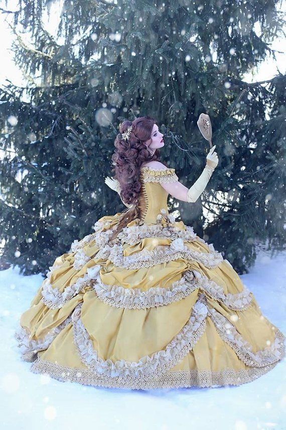 f2b3e21314229 Beauty and the Beast Wedding Dress - Couture Belle Dress Corset Faitytale  Gown - Disney Wedding