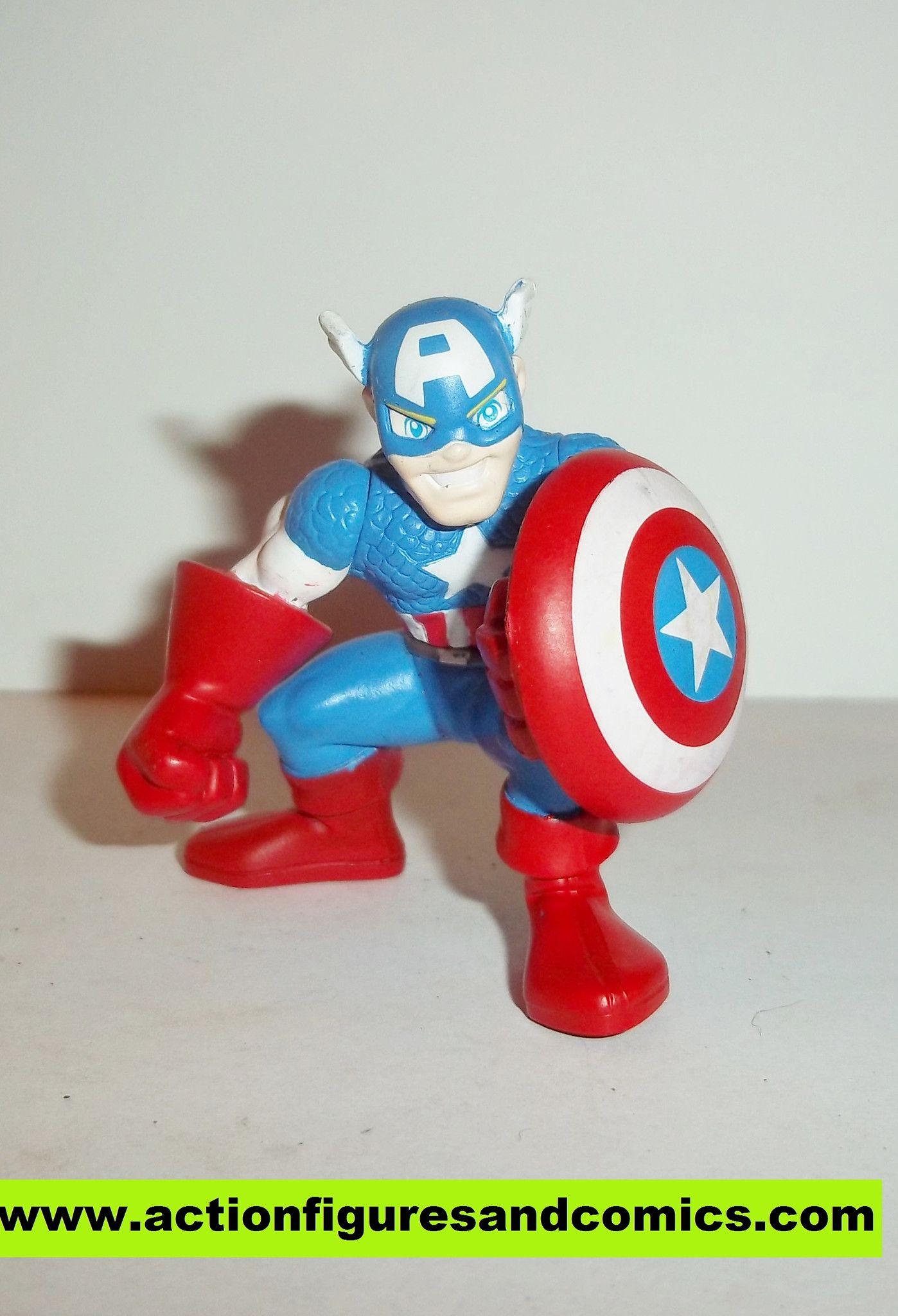 Marvel Super Hero Squad CAPTAIN AMERICA complete holding shield pvc action figures nosh