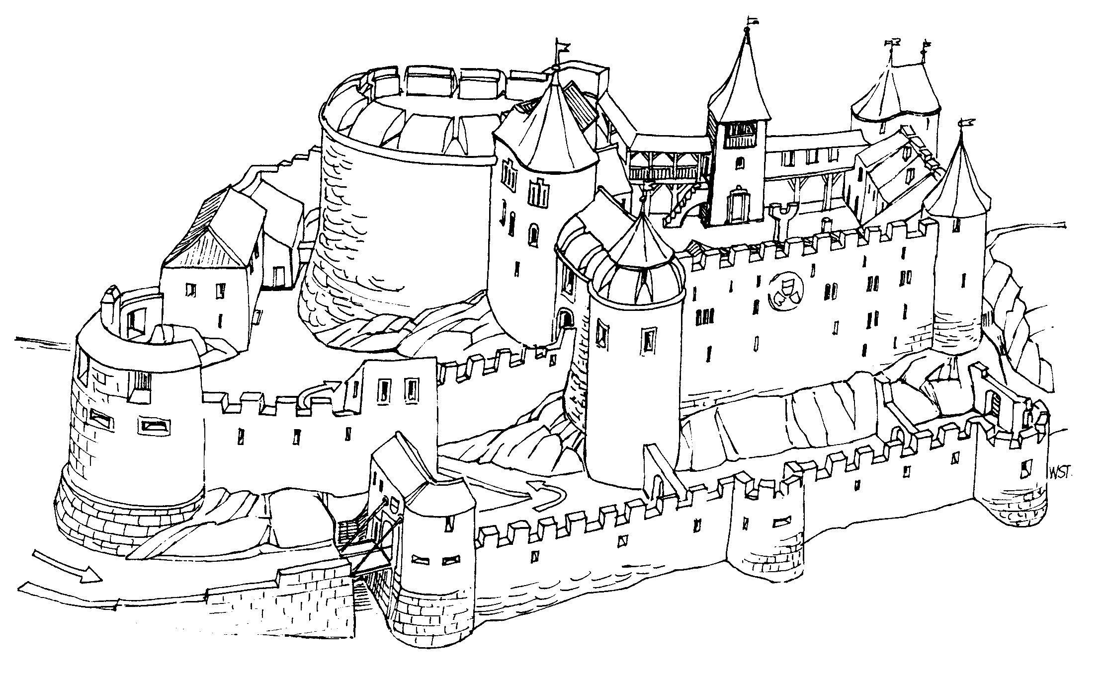 Malvorlagen Ritterburg