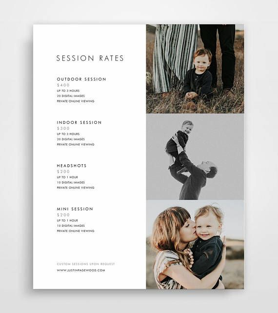 Photography Pricing Template, Photography Price List, Photography - Price Sheet Template