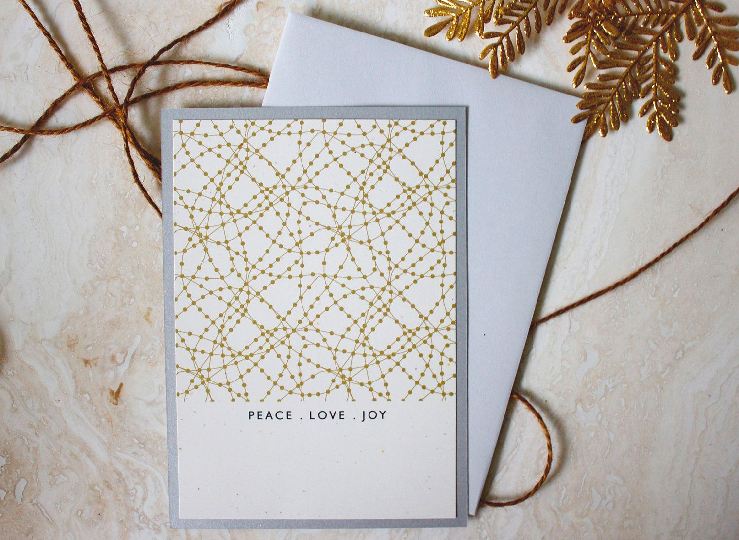 Modern Gold Dots Christmas Cards - Luxe with Metallic Backing Paper ...