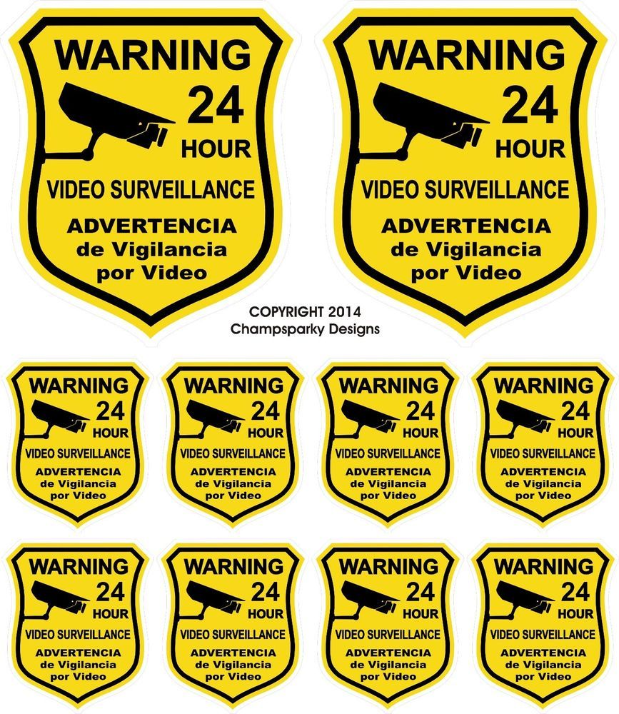 10 Home Alarm Defense Security Decal Yard Sign Stickers Video