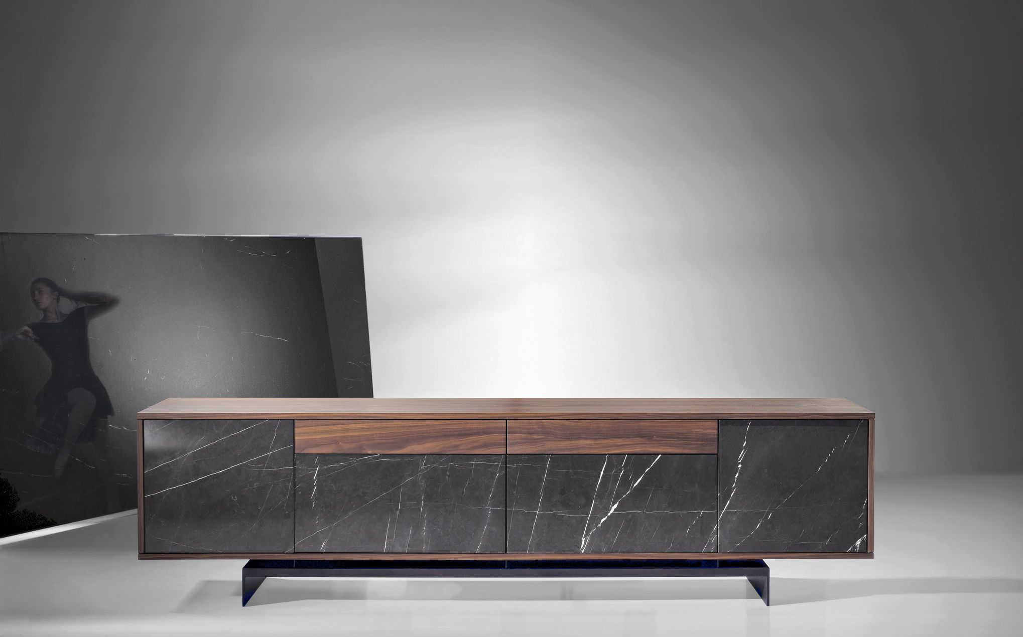 Contemporary Sideboard Marble Wood Brown Grammi By F Bio  # Meuble Tv Fabio