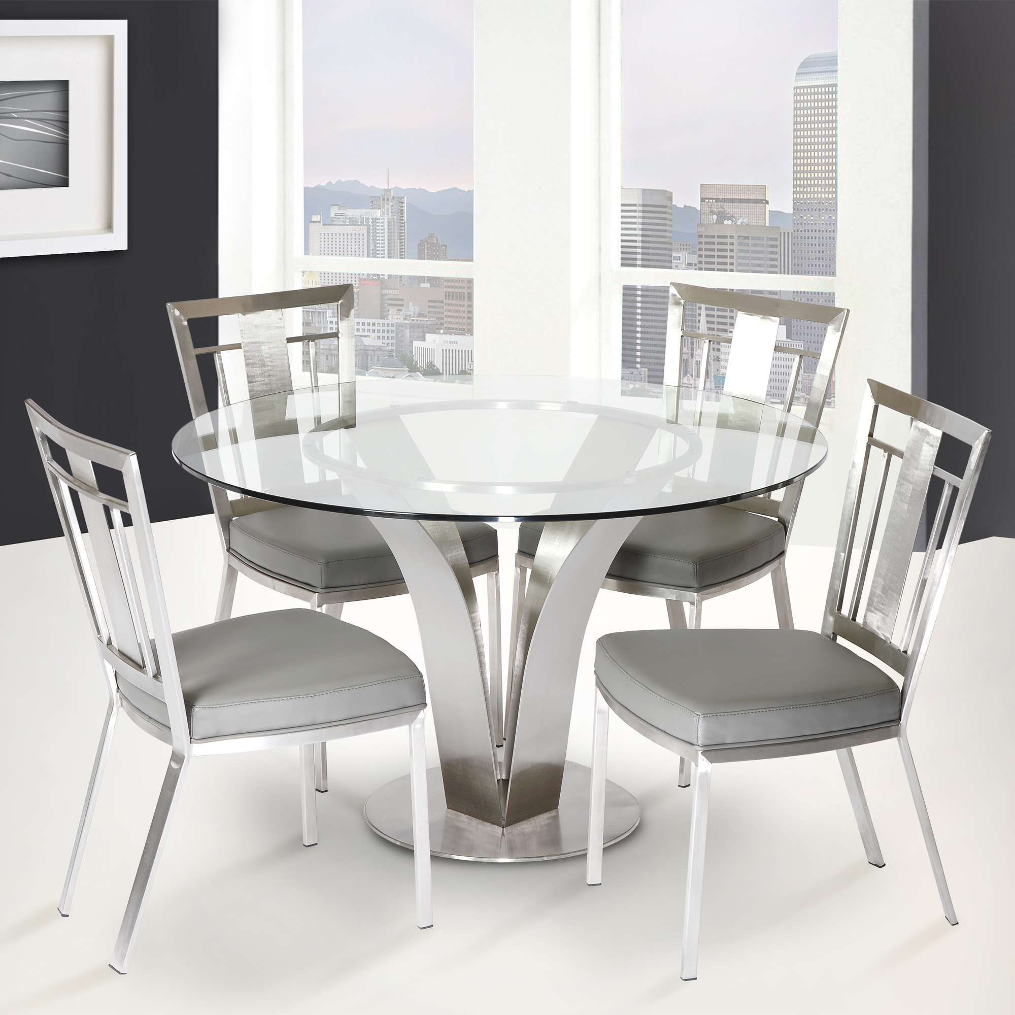 Armen Living Cleo Gray and Stainless 5 Piece Dining Room ...