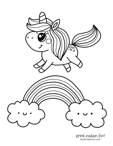 Cute unicorn on a rainbow Unicorn coloring pages