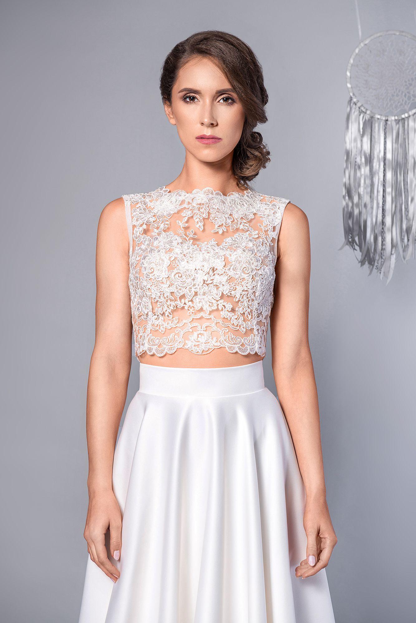 Funny Dwuczesciowa Suknia Slubna Koronkowy Top Rusical Two Piece Maxi Wedding Dress Lace Top Sukniaslubna Wedd Wedding Dresses Flower Girl Dresses Dresses