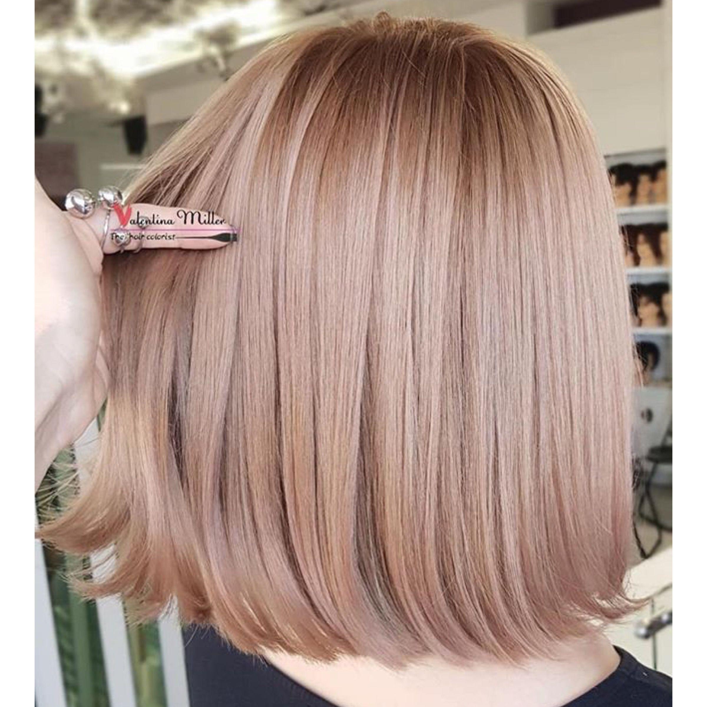 Ash Rose Gold Hair Color Lob Ash Hair Color Hair Color Rose