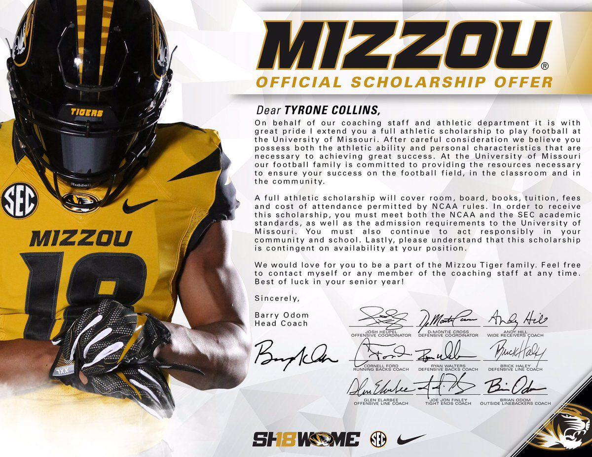 Missouri athletic scholarships college football teams
