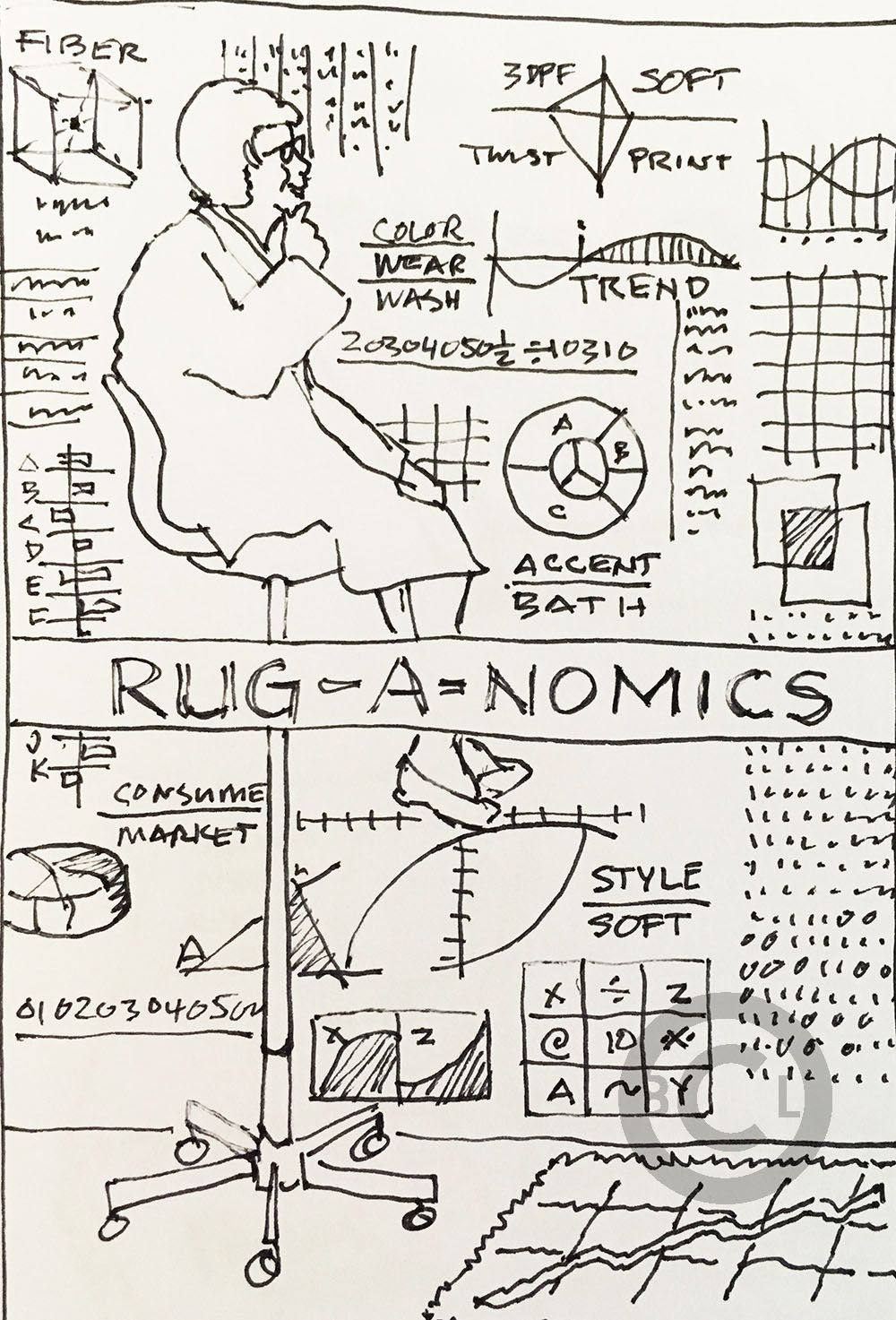 A sketch for a rug promotion. Drawing by Brad C. Lawley