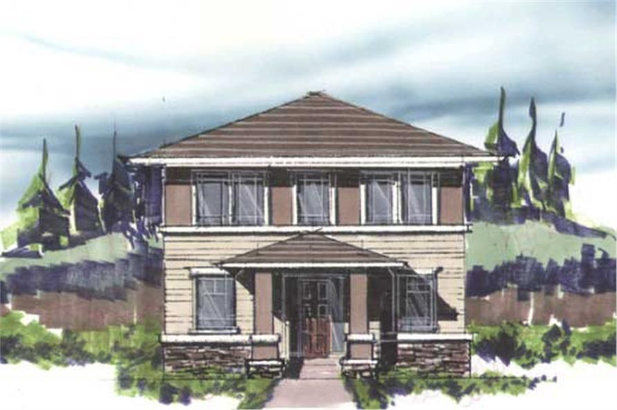 This is the front elevation for these Prairie House Plans – Prairie Style Garage Plans