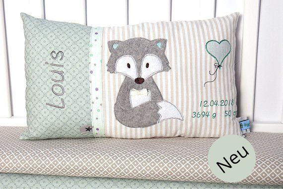 Personalisiertes Kissen zur Geburt oder Taufe, Fuchs, mint,grau, aus Baumwollstoff,  Kuschelkissen, Kinderkissen,Namenskissen, Baby,    Source link #baby #baptism #birth #Childrens #cotton #Cuddle #cushions #Fabric #Fox #gray #Mint #personalized #pillow #pillows
