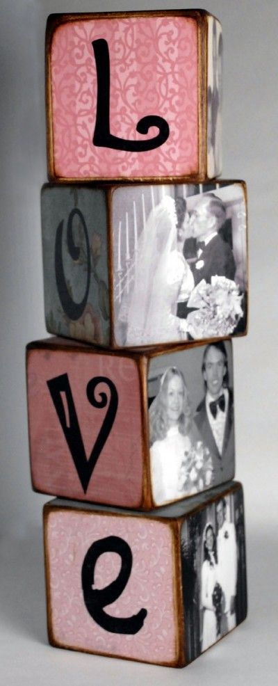 """Love Blocks - 3, 4 or 6 blocks (depending on word). 3.5"""" blocks. 3 coordinating scrapbook papers to match theme (more to cover top and bottoms of block). Decoupage Glue – ModPodge's Matte Glue is my favorite. Printer-black ink works best for printing letters. Scissors, Foam Brush, Sandpaper, Sanding Block (Not really needed, but it goes a long way to saving your hands during the sanding process!). Distress Ink or Chalk, Finishing Spray, 9, 12 or 18 pictures formatted to fit your blocks."""