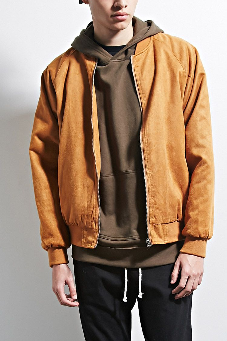 A Padded Faux Suede Bomber Jacket By Eptm Featuring Long Raglan Sleeves Ribbed Knit Trim Front Jetted Pockets A Menswear Suede Bomber Jacket Bomber Jacket [ 1125 x 750 Pixel ]