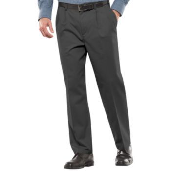 Men/'s Croft/&Barrow Classic-Fit Easy-Care Khaki Stretch Pleated Pants Navy color