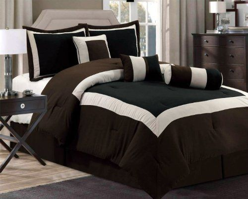 8 Pc Modern Hampton Comforter Set Black Brown Bed In A Bag King Size Bedding By Grand Linen 59 95 Comforter Sets Black Bedding King Size Comforter Sets