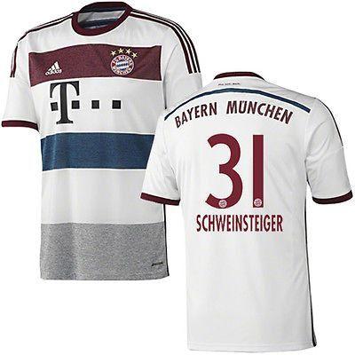 ADIDAS B. SCHWEINSTEIGER BAYERN MUNICH AWAY JERSEY 2014/15 GERMANY BUNDESLIGA #MiaSanMia