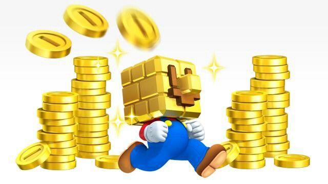 Mario Mir Würfel Kopf Und Den Münzen In New Super Mario Bros 2