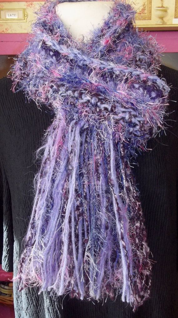 Purple Crochet Scarf Fuzzy Scarf Handmade Scarf by LAinstitches