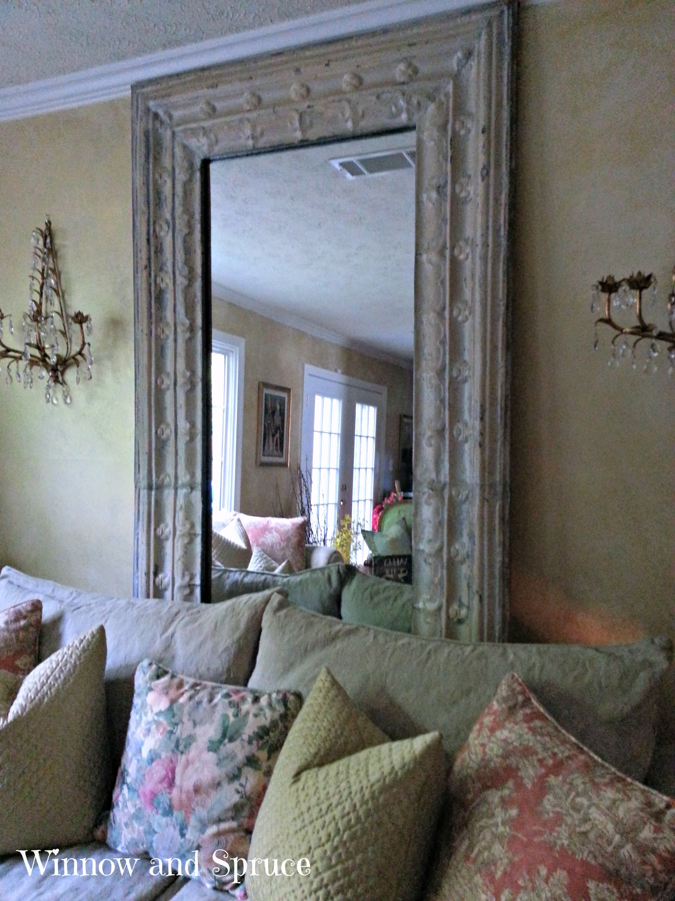 "One of my ""most"" favorite things... antique tin ceiling mirror."