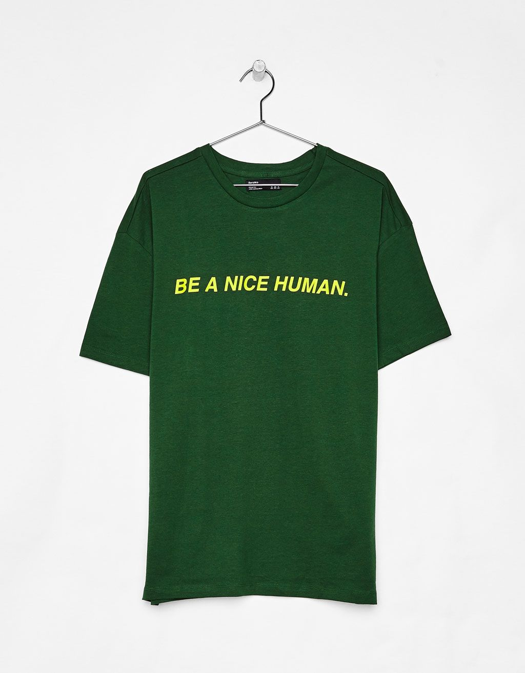 5327492ac T-shirt with slogan - Bershka  fashion  trend  green  tshirt  print   lettering  nice  human  boy  trend  trendy