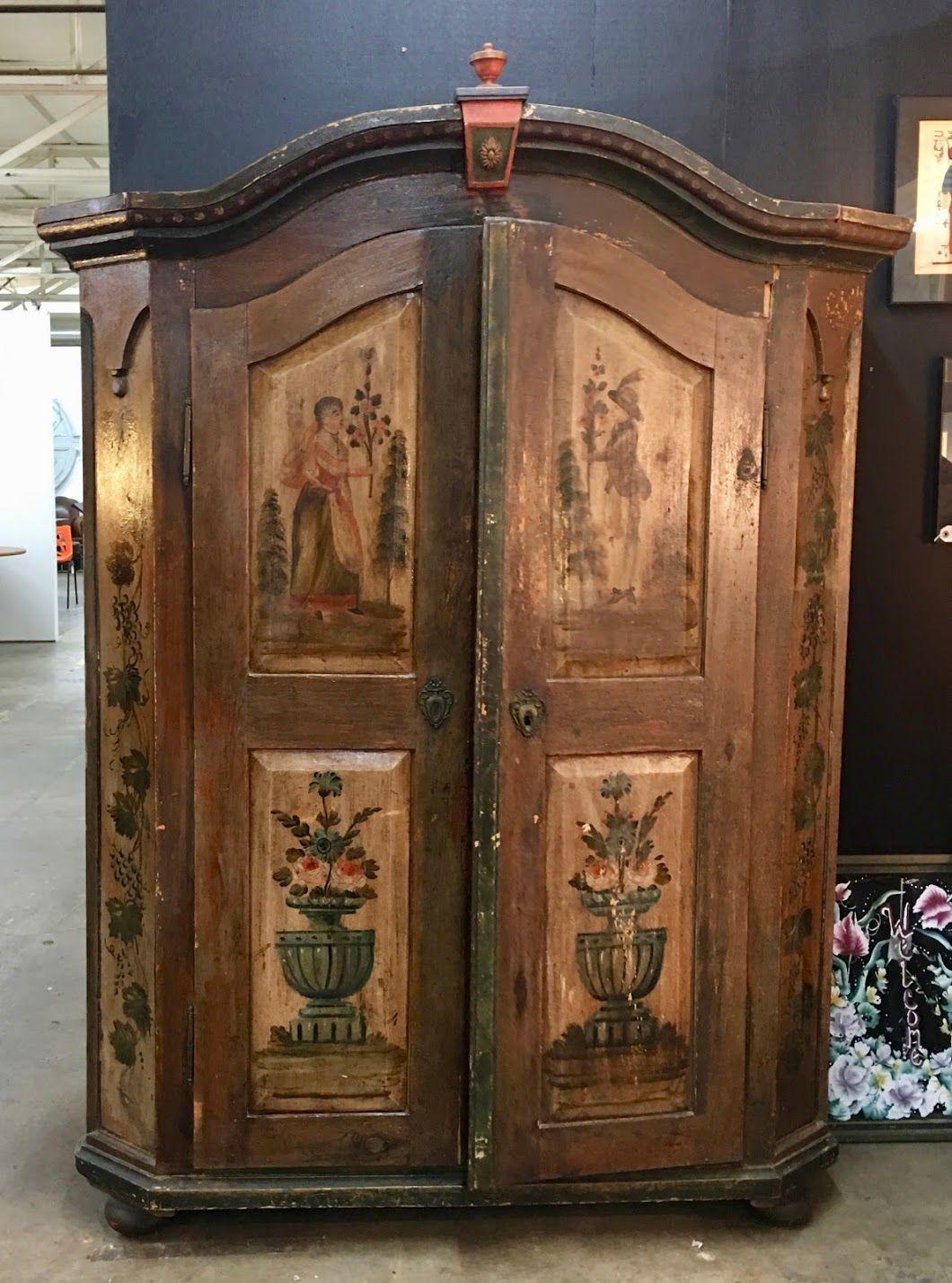 Antique German Hand Painted Wardrobe 64  Wide x 23  Deep x 80  High. Antique German Hand Painted Wardrobe 64  Wide x 23  Deep x 80