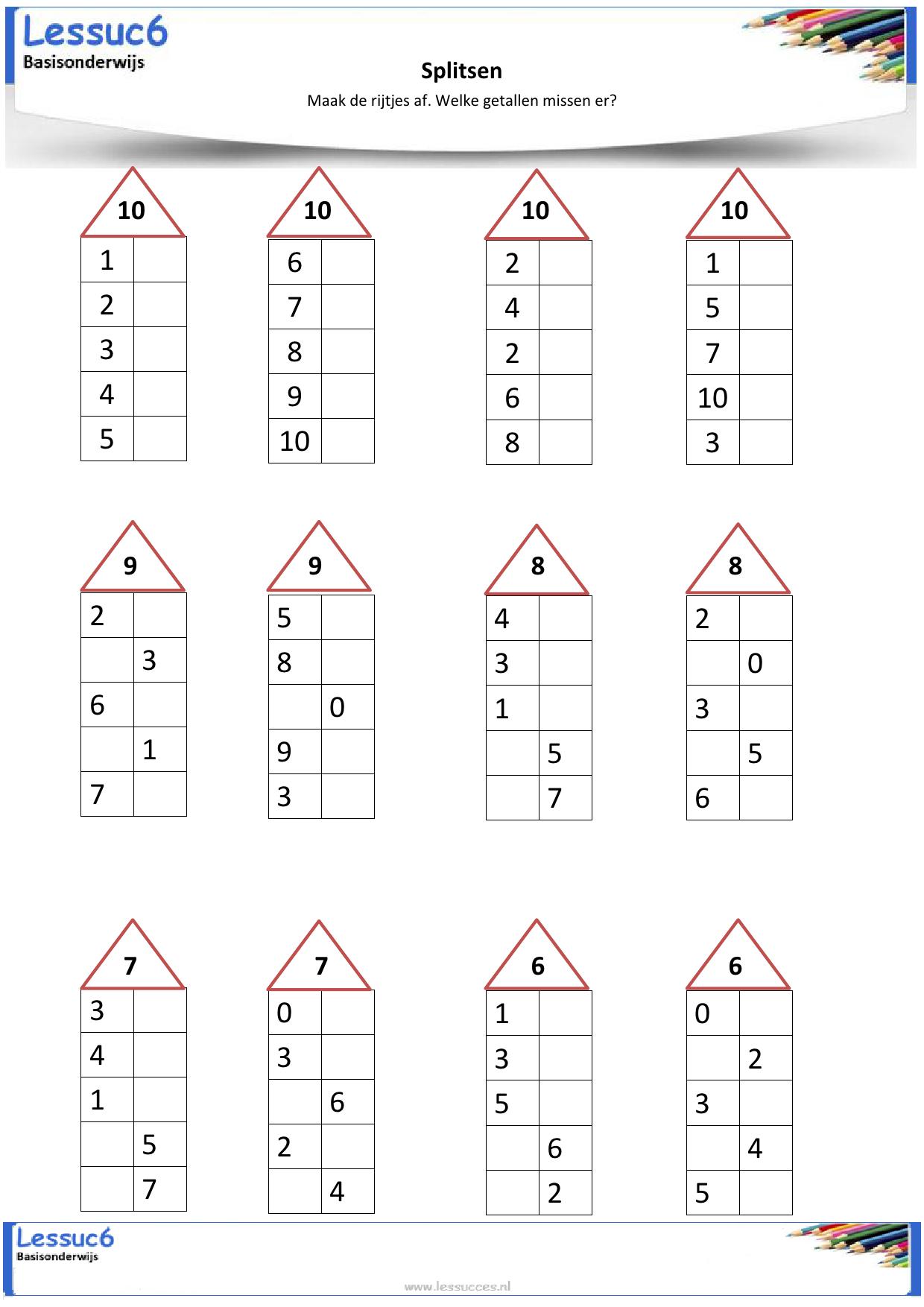 Voorkeur Afbeeldingsresultaat voor werkbladen rekenen groep 4 splitsen  YK63