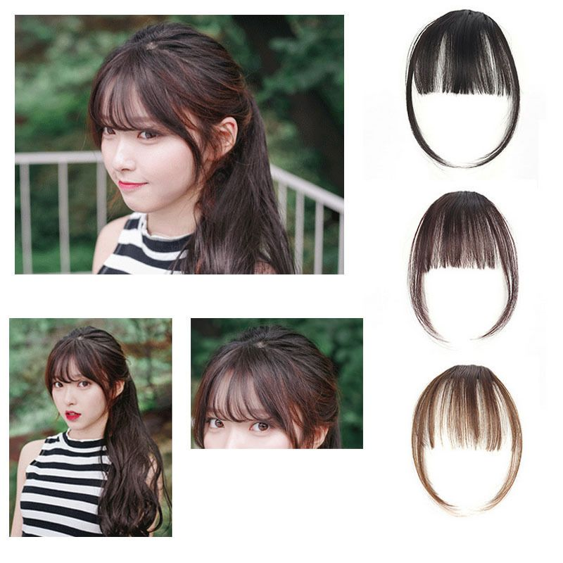 Thin Neat Air Bangs Hair Extension Clip In Korean Natural Fringe