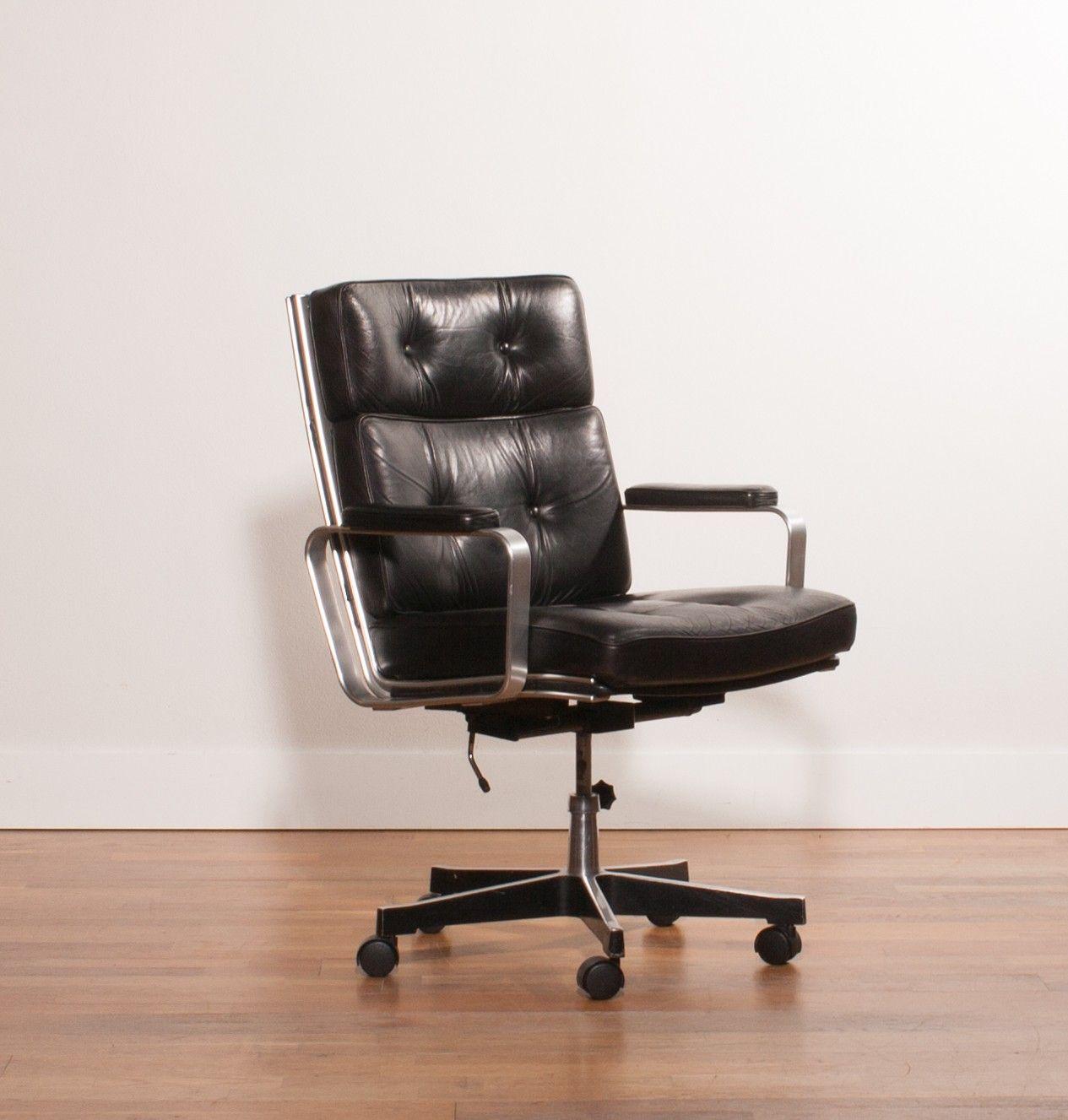 chaise de bureau vintage noire karl erik ejselius 1970 - Chaise De Bureau Vintage