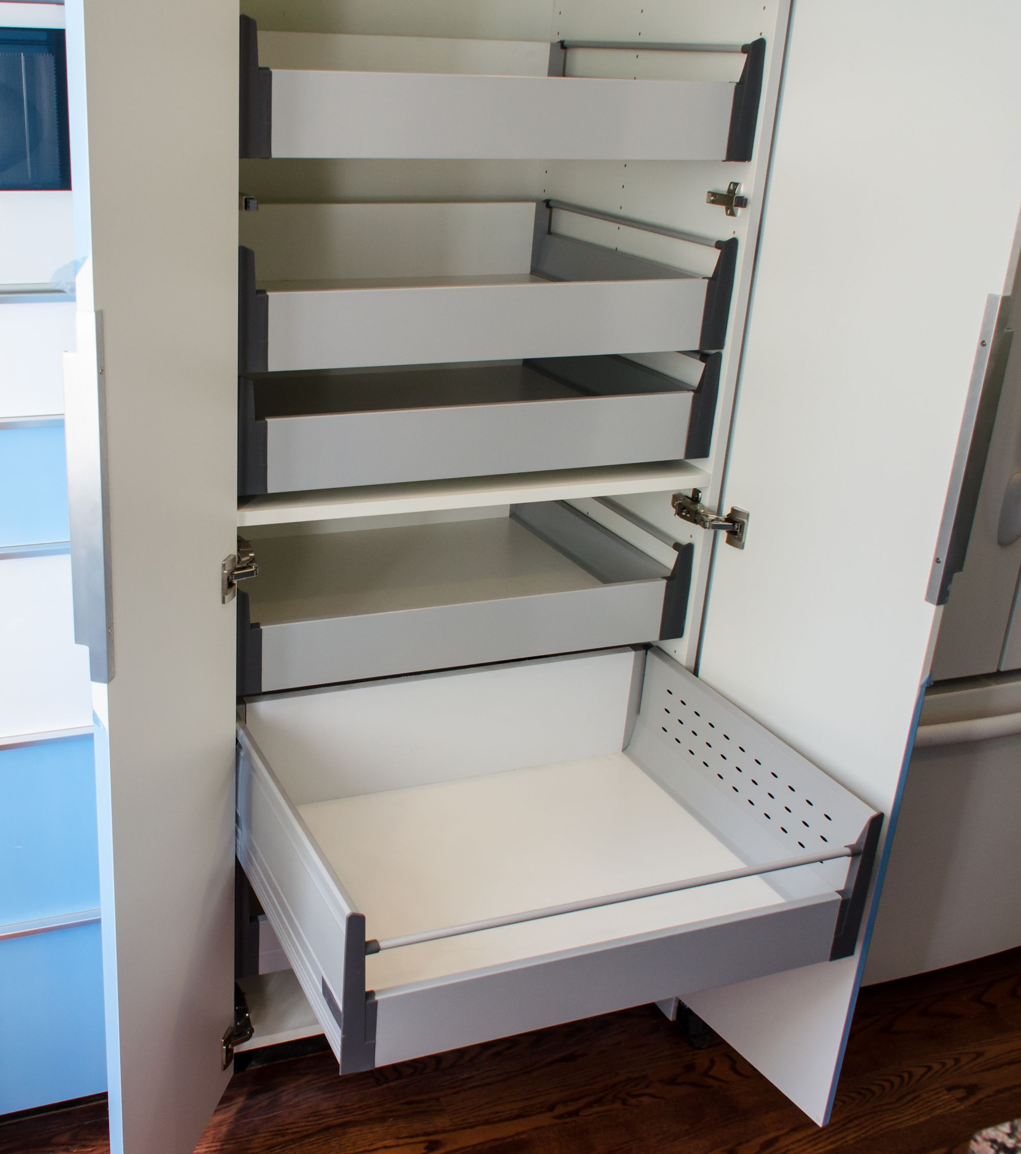 Kitchen Cabinets Slide Out Shelves Ikea Akurum High Cabinet Hack With Sliding Shelves Slide