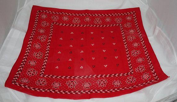 Vintage Bandana Handkerchief Red RARE Lion by ilovevintagestuff