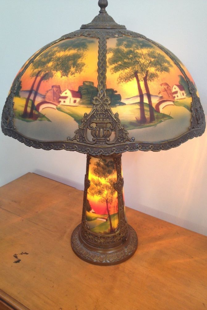 1900 1940 Gorgeous Antique Early 20th Century Hand Reverse Painted Table Lamp Antique Lamps Vintage Lamps Recover Lamp Shades