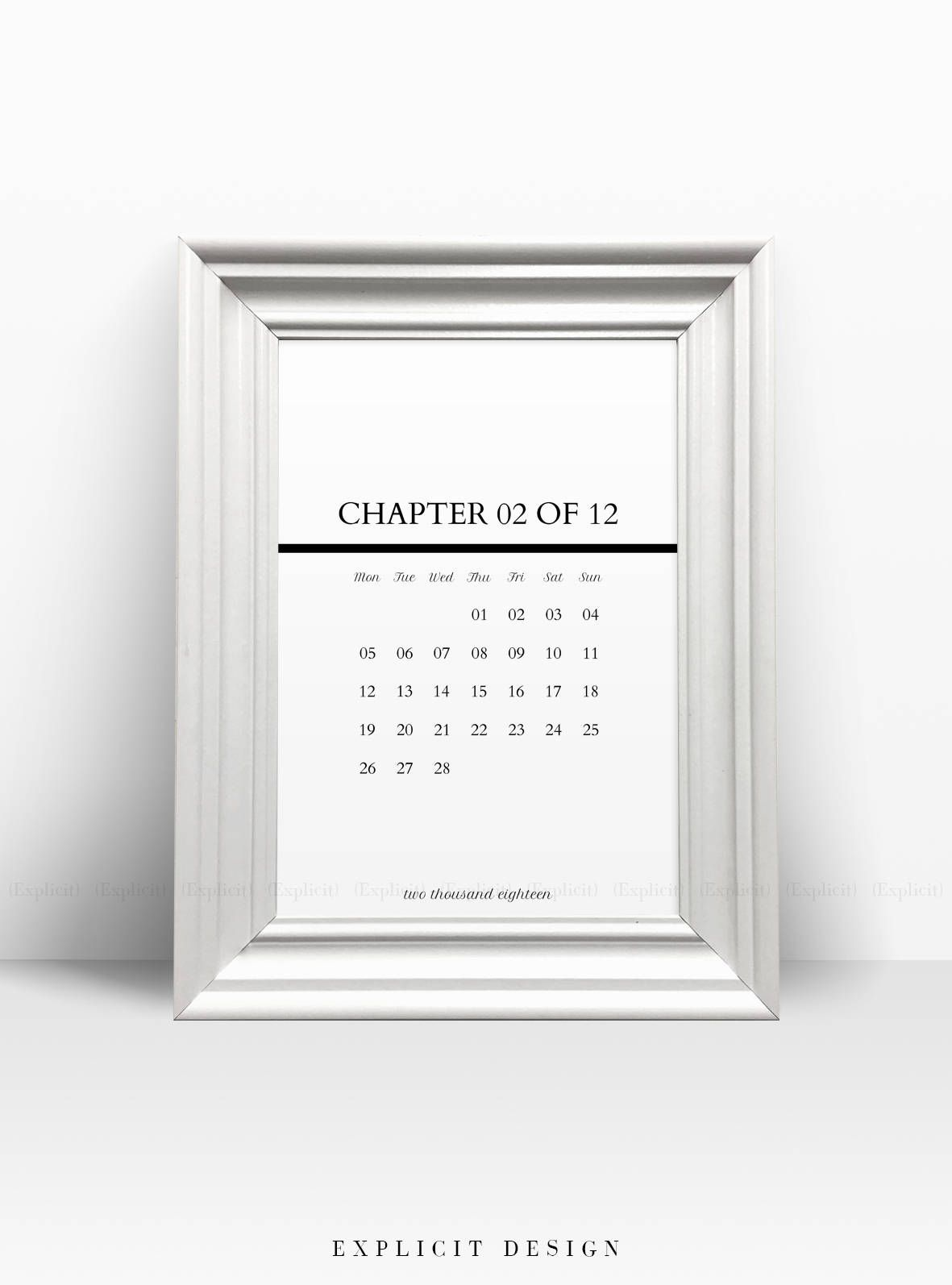 Printable Monthly Calendar Black And White Year  Minimalist