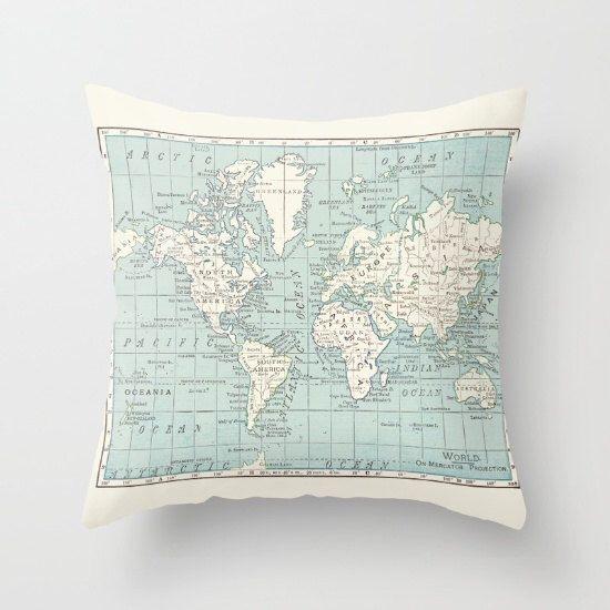 World map pillow world map travel decor blue and cream world map pillow world map travel decor blue and cream wanderlust gumiabroncs Choice Image