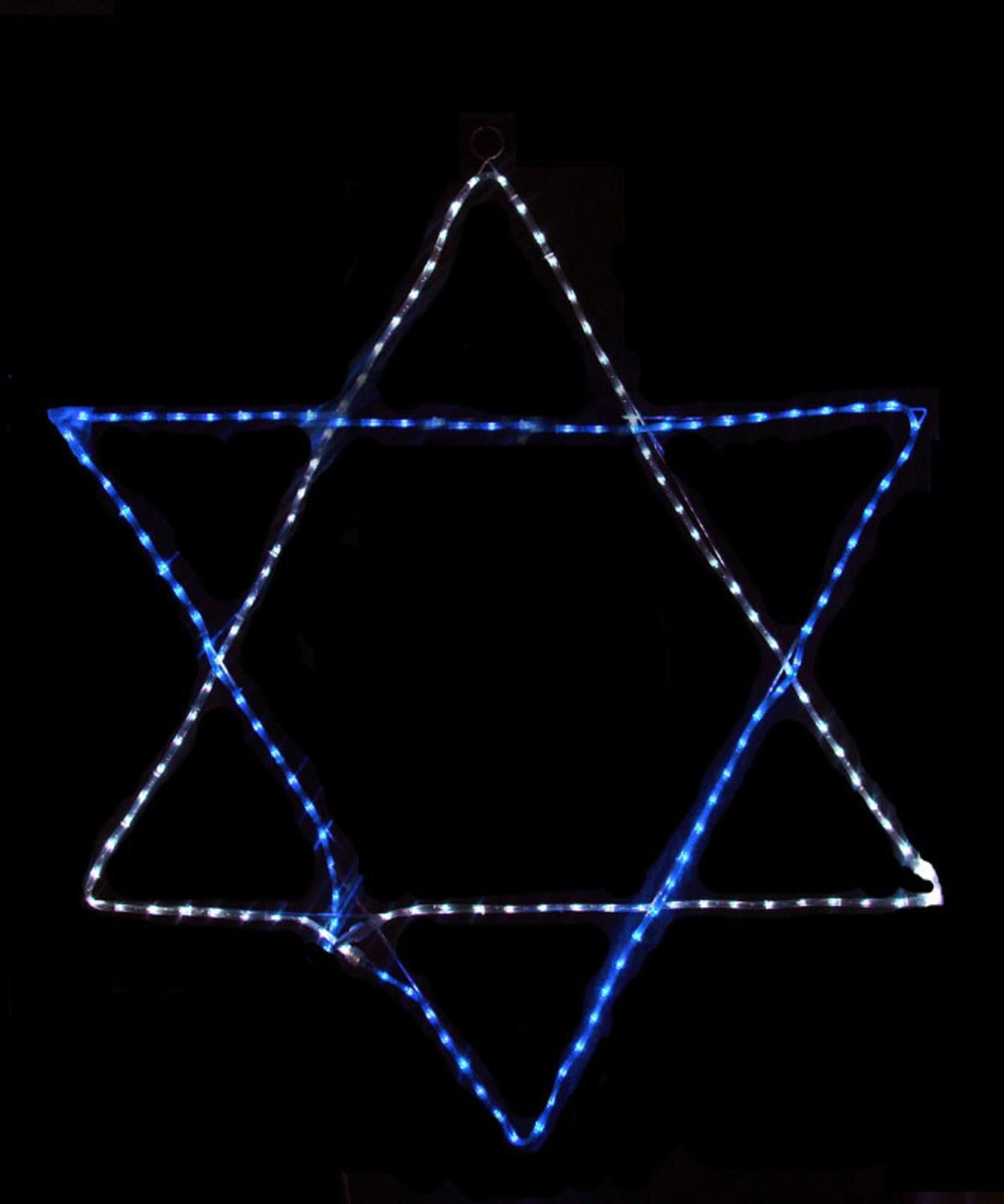 24 blue and white led rope light star of david hanging hanukkah 24 blue and white led rope light star of david hanging hanukkah decoration mozeypictures Images