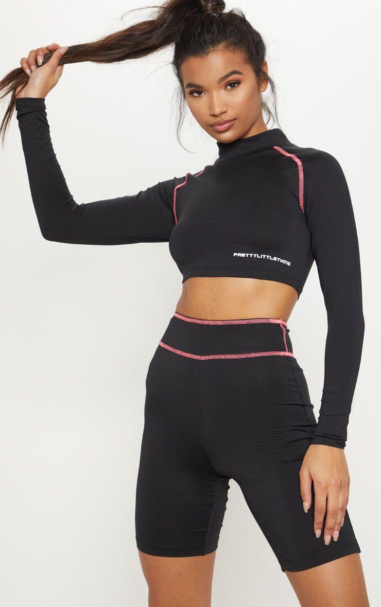 2355df5dd255 PRETTYLITTLETHING Long Sleeve Black Zip Back Gym Top in 2019 ...