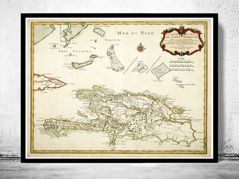 Old map of haiti and dominican republic 1725 product image old old map of haiti and dominican republic 1725 product image sciox Choice Image