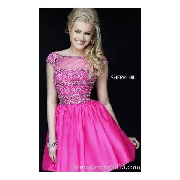 Fuchsia Sherri Hill 32267 Short Homecoming Dress 2015 via Polyvore