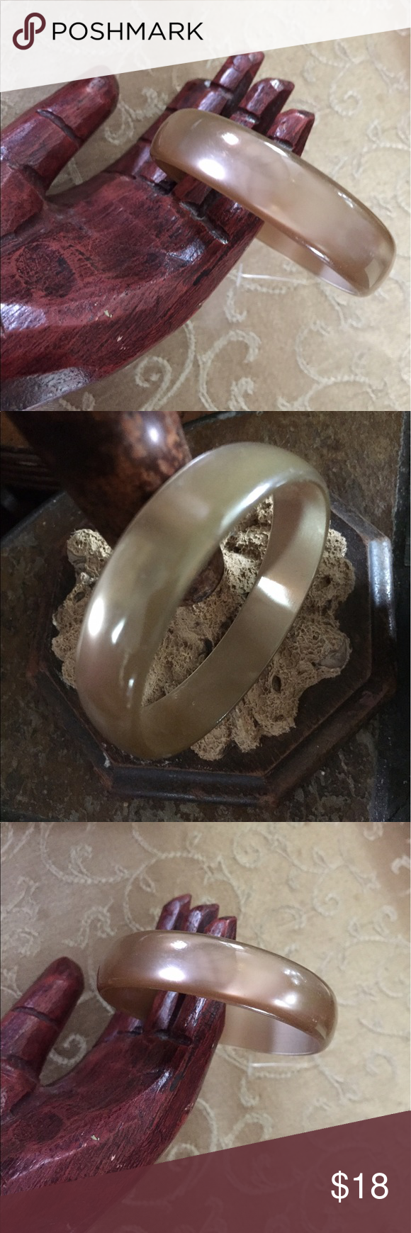 """Vintage Taupe Moonglow Bangle Bracelet A lovely Vintage Taupe Moonglow Bangle Bracelet. Moonglow has a deep pearlized appearance. Measures slightly over 1/2"""" wide. In excellent preowned vintage condition. Vintage Jewelry Bracelets"""