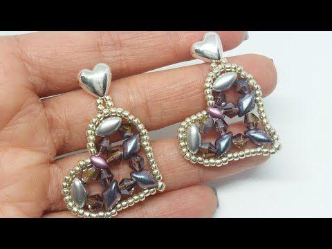 DIY- Video Tutorial Cuore #orecchini #earrings #ciondolo #pendant #perline #beads #heart - YouTube