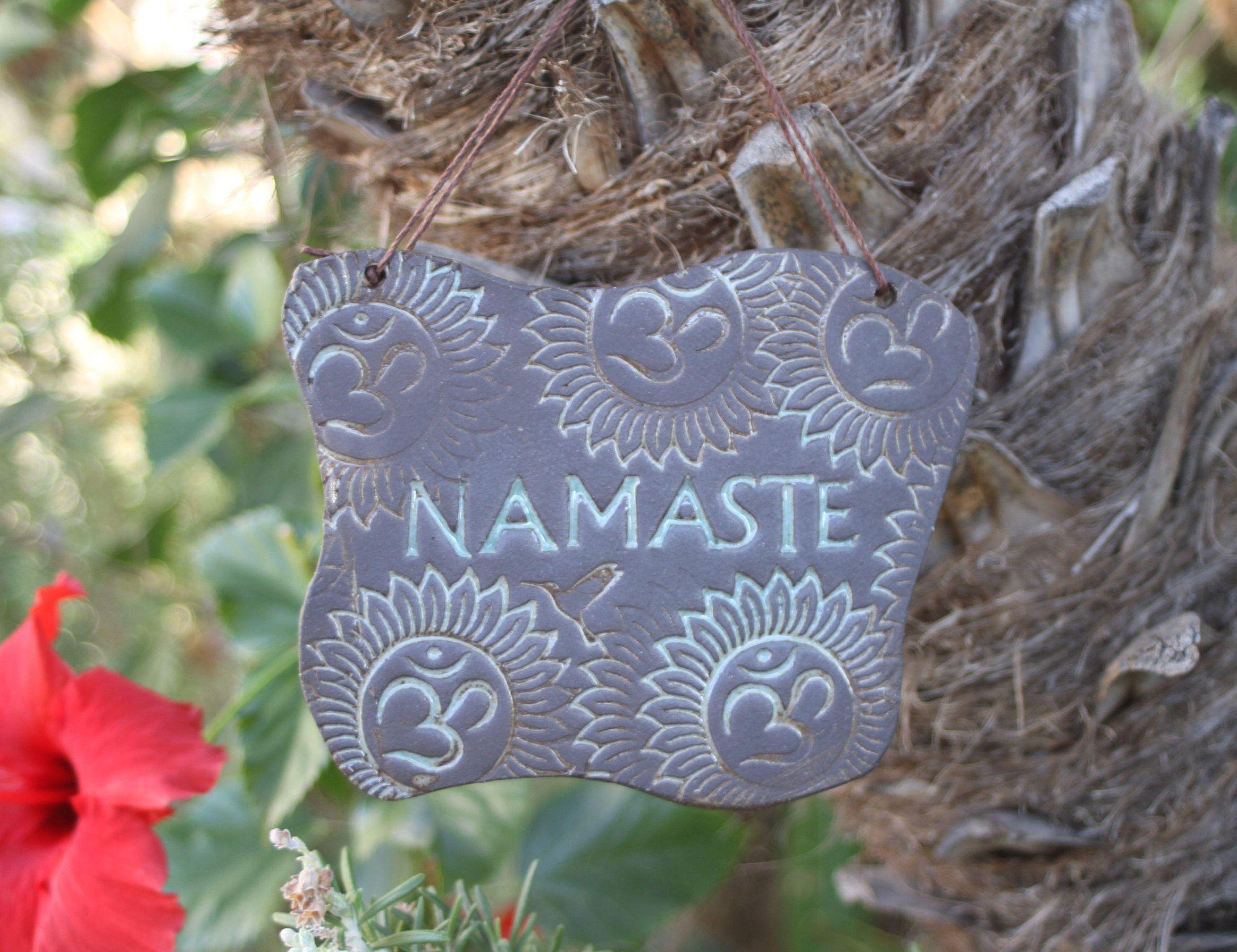 Om Namaste Sign Handmade Ceramic Yoga Greeting Wall Hanging Signs