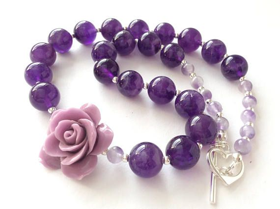 Purple Amethyst Sterling Silver with Stone Rose Gem Necklace