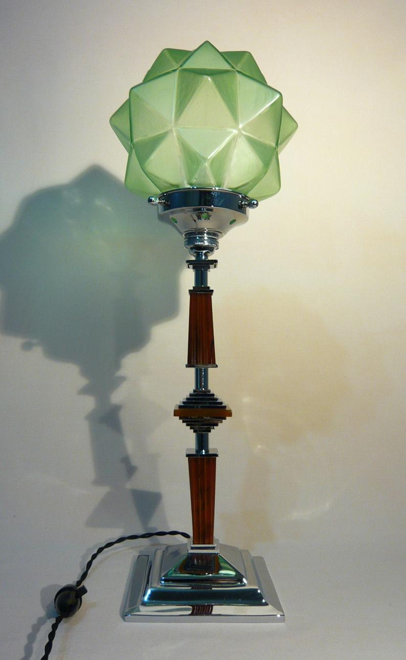 1930 S Art Deco Machine Age Ultra Rare Chrome Catalin Bakelite Lamp Geometric Forms With Multi Pointed Jade Green Czech Star Shade In 2020 Lamp Glass Ceiling Lights Art Deco Lighting
