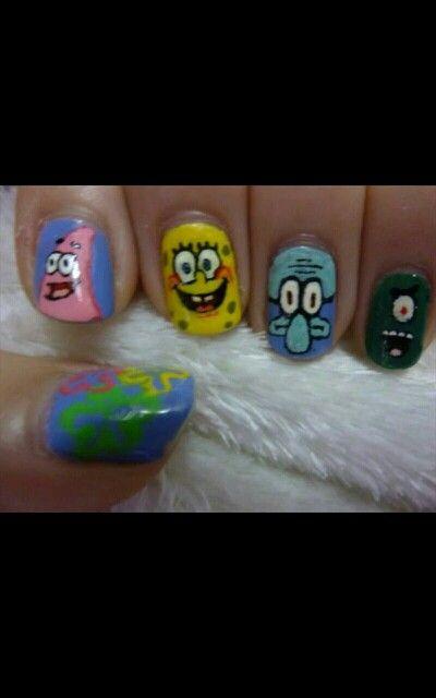 Spongebob nails | Spongebob nails, Spongebob nail art ...