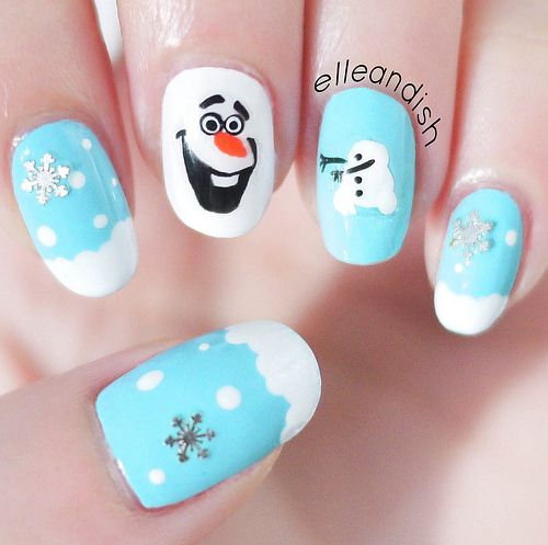 Frozen Olaf Nails