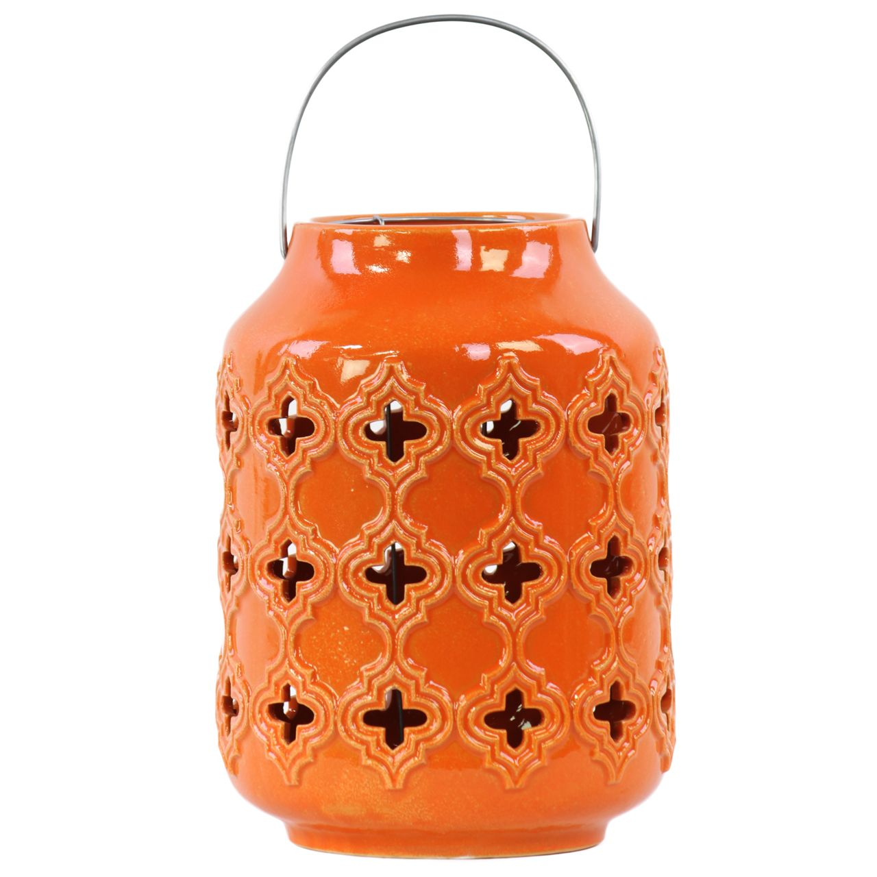 Urban Trends Collection Gloss Cylindrical Lantern with Cutout Walls and Metal Handle