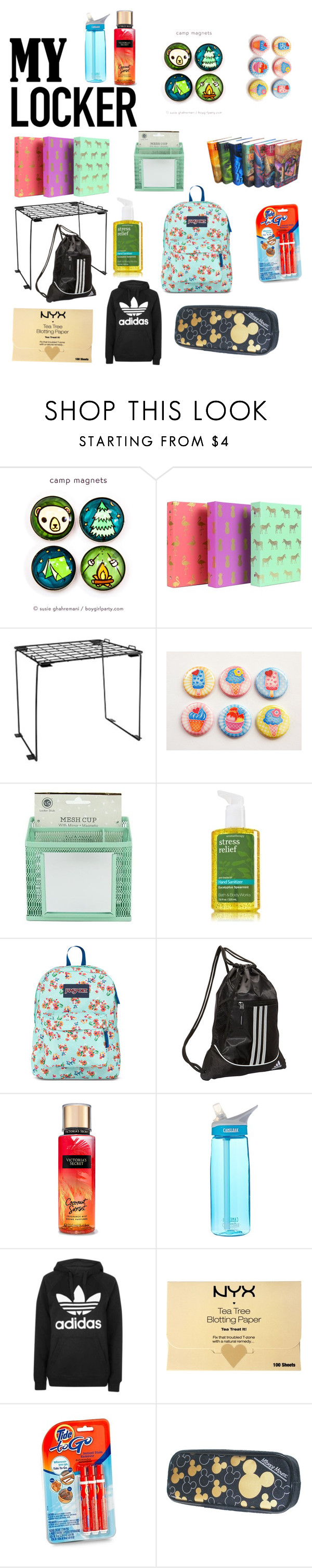 """Locker"" by berrycake18 ❤ liked on Polyvore featuring interior, interiors, interior design, home, home decor, interior decorating, JanSport, adidas, CamelBak and Topshop"