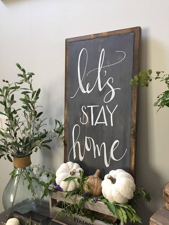 Lets stay home sign, free shipping, rustic home sign, rustic sign, fixer upper, rustic farmhouse, family room decor, farmhouse sign