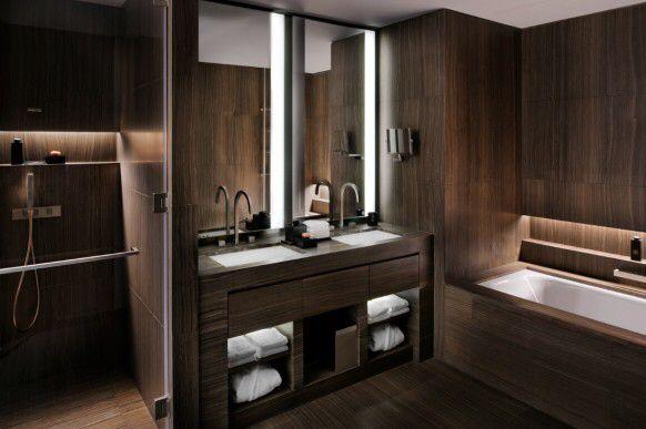 Armani Hotel Dubai Dizajn Nebolshoj Vannoj Sovremennaya Vannaya Korichnevaya Vannaya Komnata