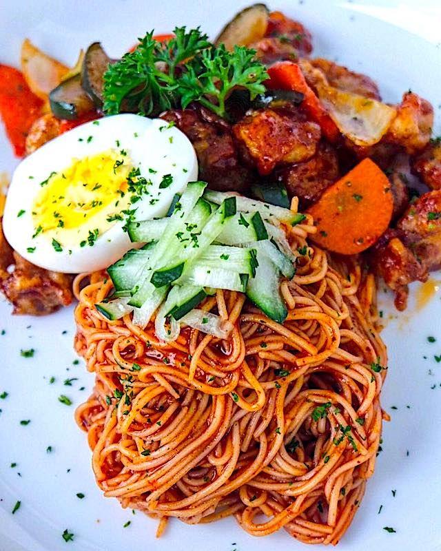 Hubert's Cold Korean Noodles With Bulgogi - 비빔면 | Recipe ...