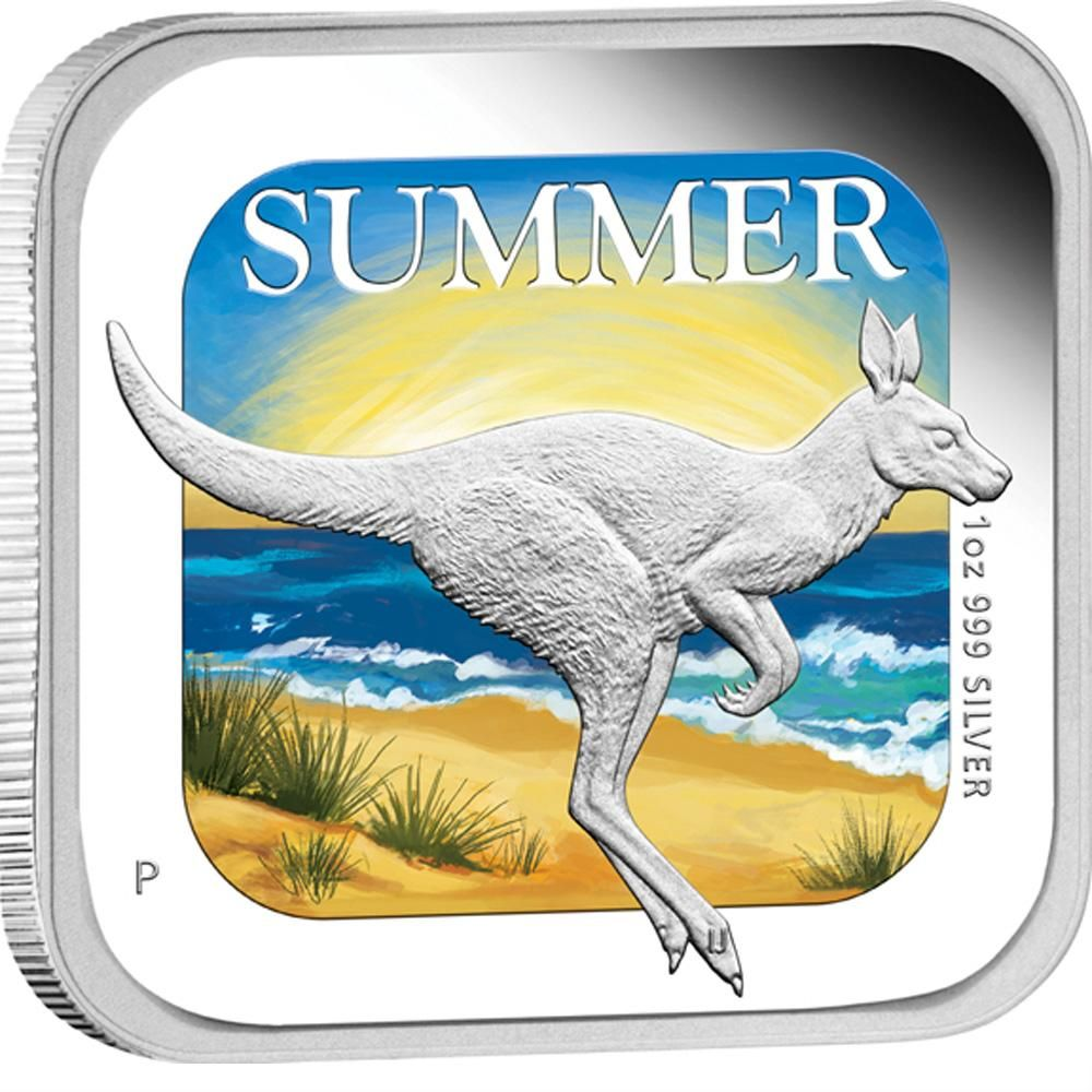 Australian Seasons Summer 2013 1oz Silver Proof Square Coin